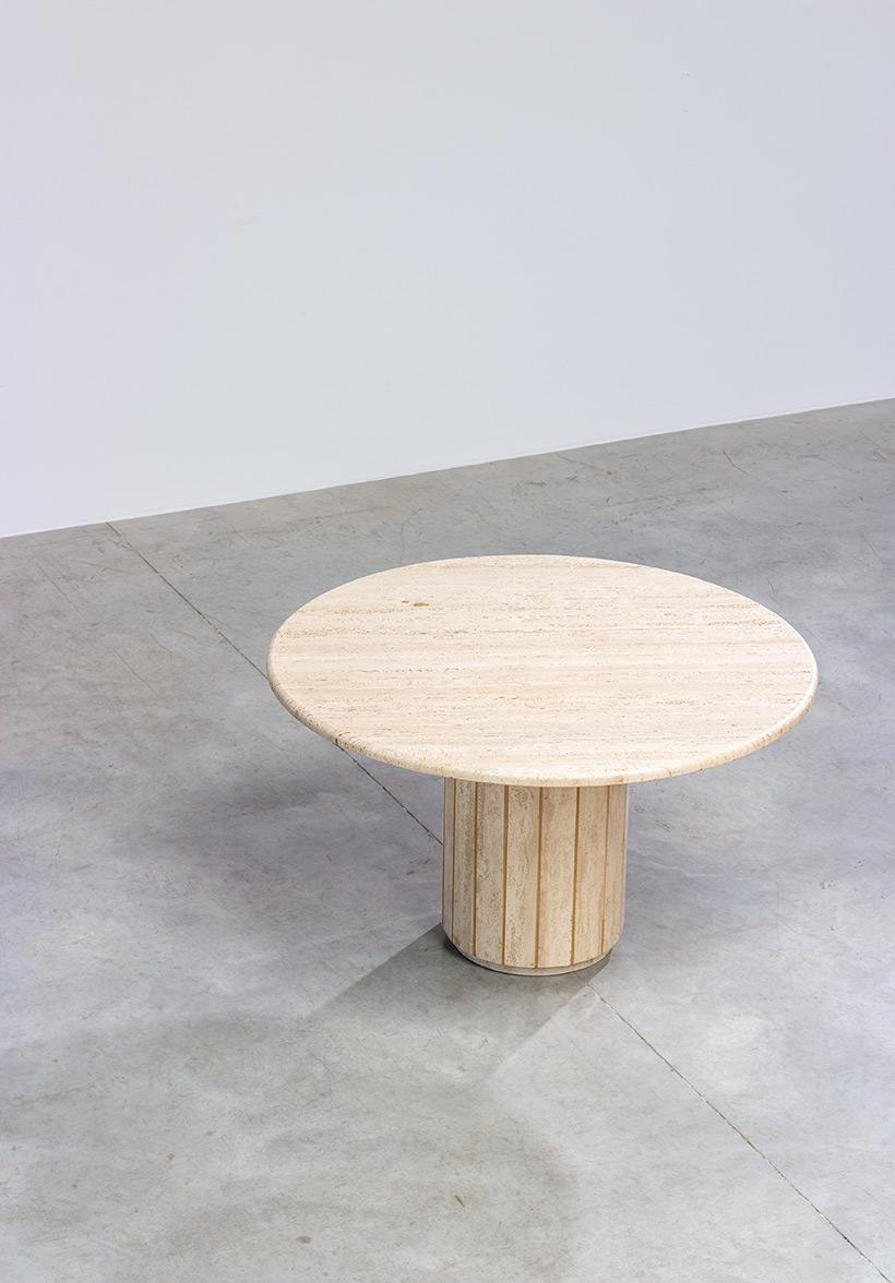 Modern architectural round Travertine dining table circa 1970 img 7