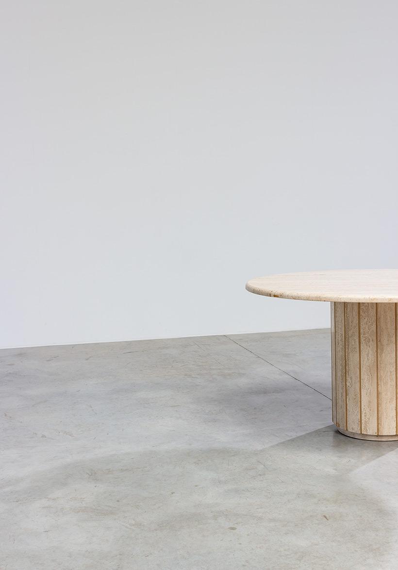 Modern architectural round Travertine dining table circa 1970 img 9