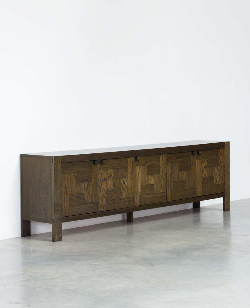 Modern Belgian sideboard with graphic patchwork doors 1970