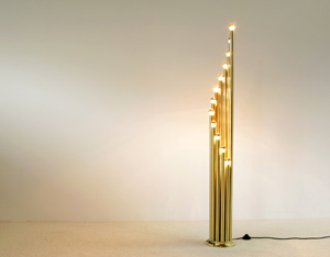 Modern Brass floorlamp with 12 golden bulbs