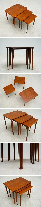 Modern Danish set of 3 nesting tables 1960 Large