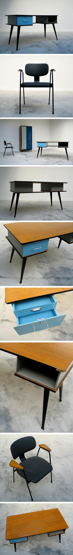 Modern desk and F1-Chair Willy Van Der Meeren 1950 Large