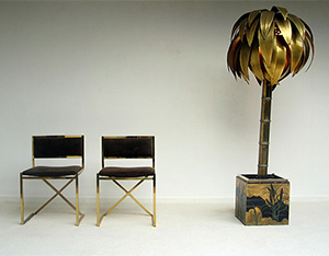 Modern French brass palm tree floor lamp 1970