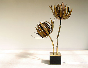 Modern French brass palm trees floor lamp 1970