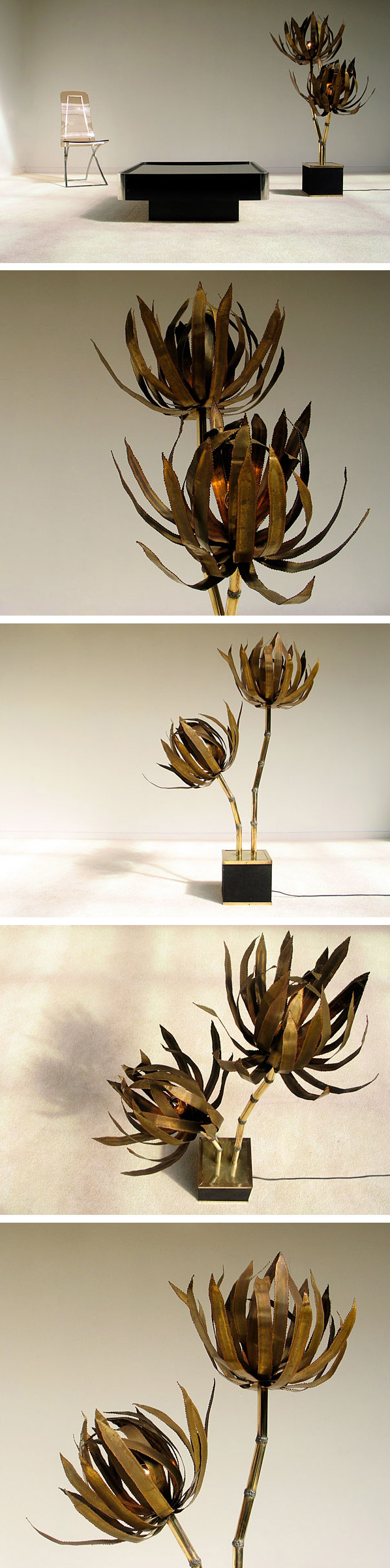 Modern French brass palm trees floor lamp 1970 Large