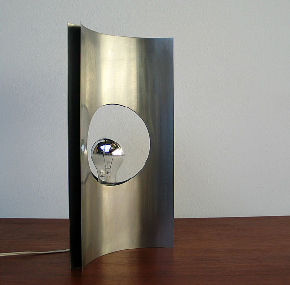 Modern French brushed steel lamp Maria Pergay 1970