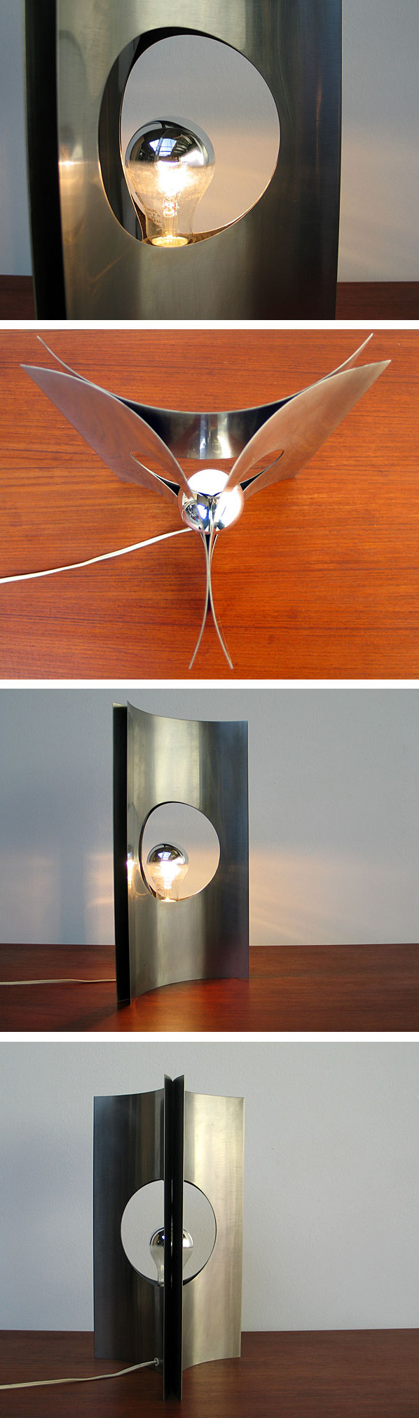 Modern French brushed steel lamp Maria Pergay 1970 Large