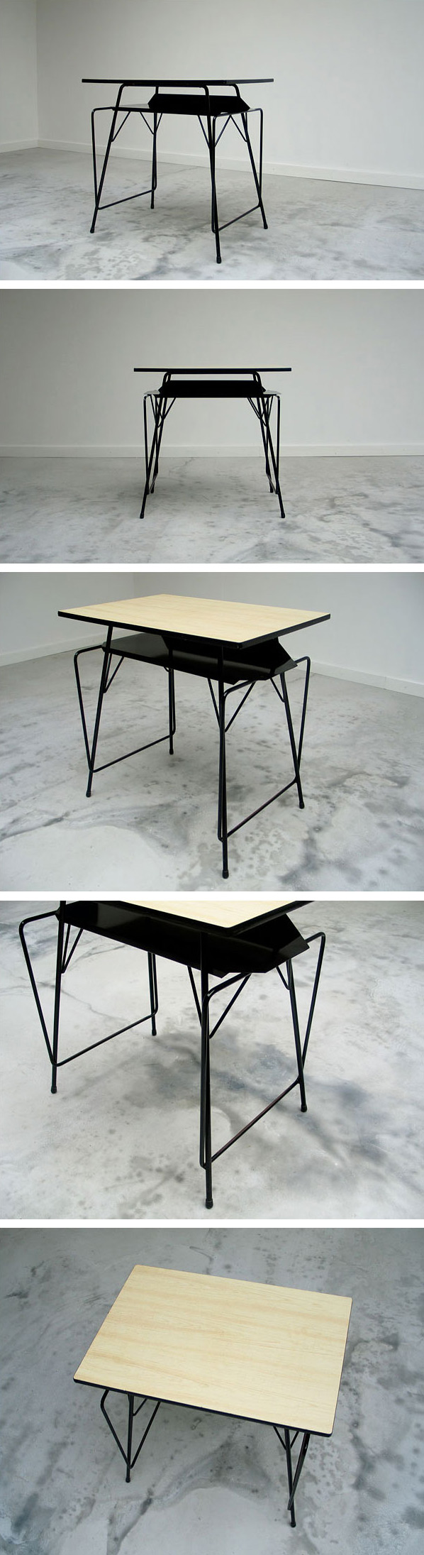 Modern student writing table Willy Van Der Meeren 1950 Large