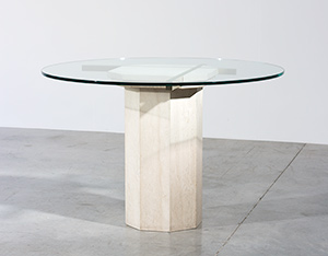 Modern Travertine and brass octagonal dinning table or console circa 1970