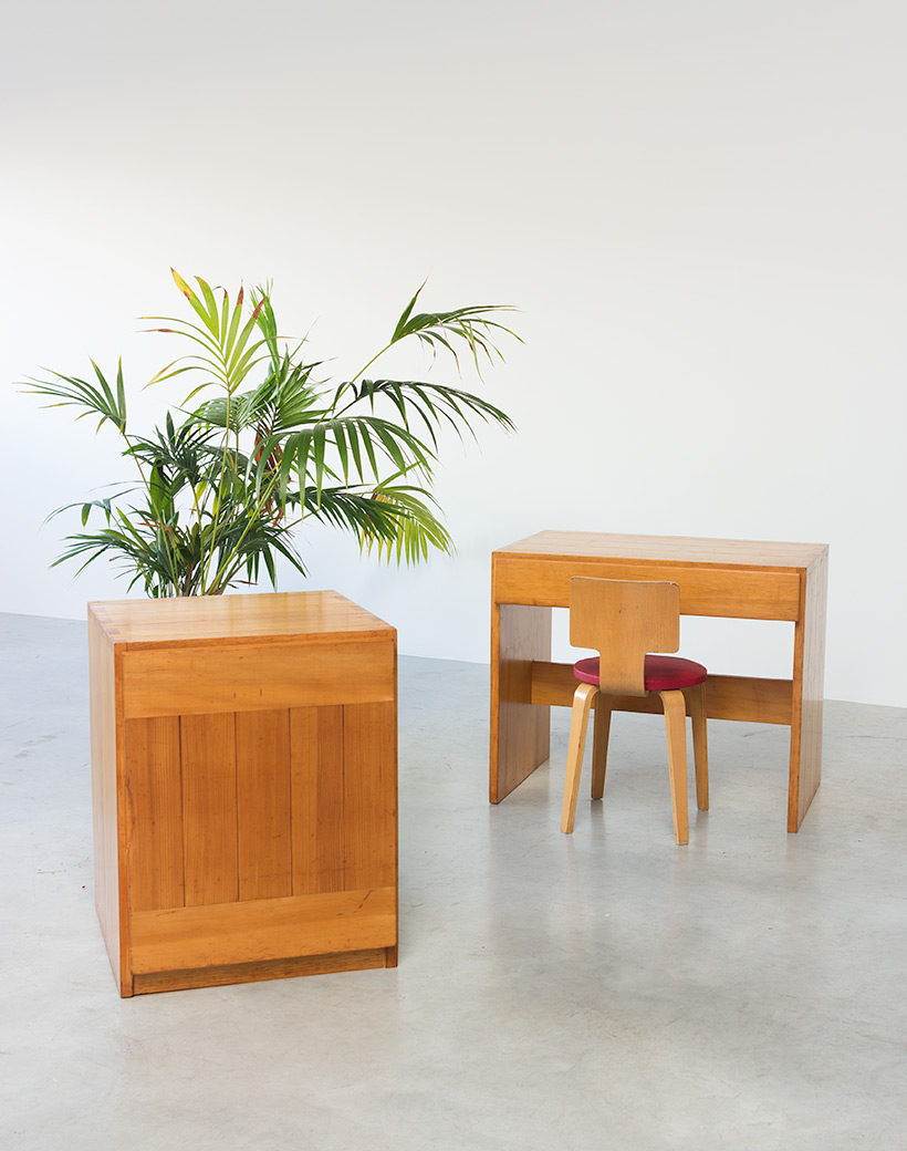 Modernist Swedish desk and cabinet in pinewood