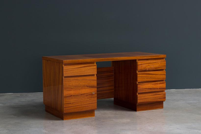 Modernist wooden desk in the spirit of David Hicks Large