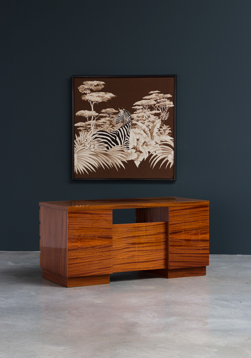 Modernist wooden desk in the spirit of David Hicks img 7