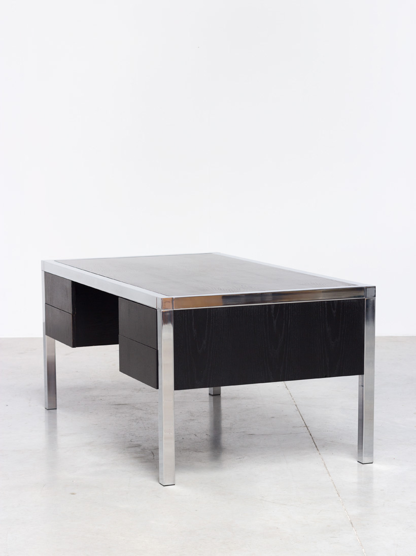 Monolith black chromed rectangular desk 1970