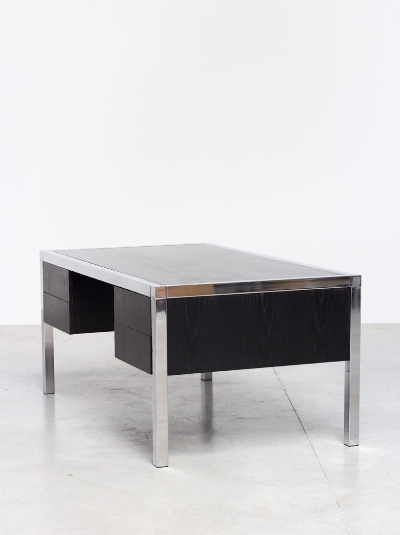 Monolith black chromed rectangular desk 1970