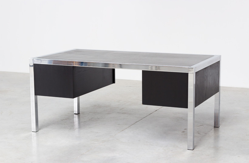 Monolith black chromed rectangular desk 1970 img 3