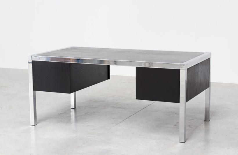 Monolith black chromed rectangular desk 1970 Large