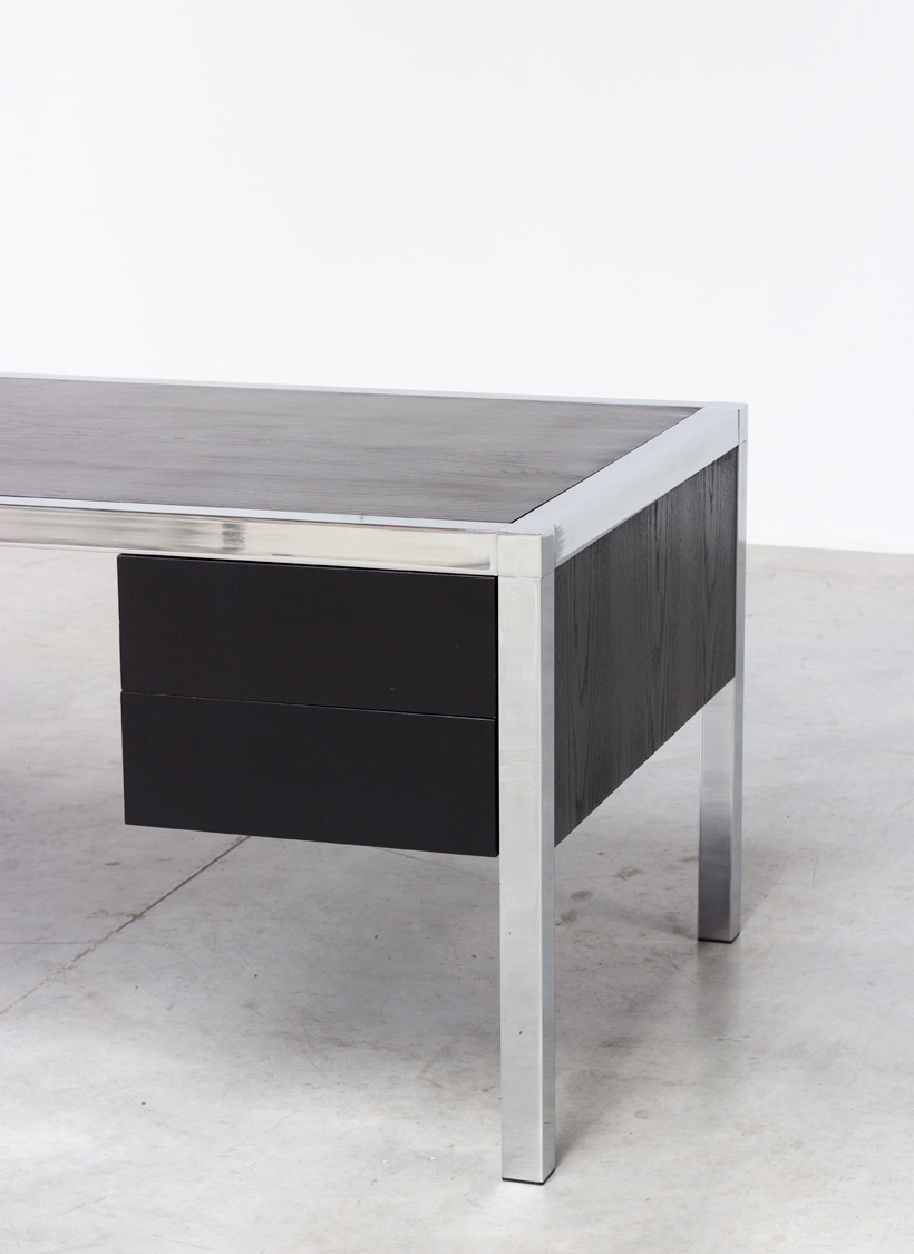 Monolith black chromed rectangular desk 1970 img 5