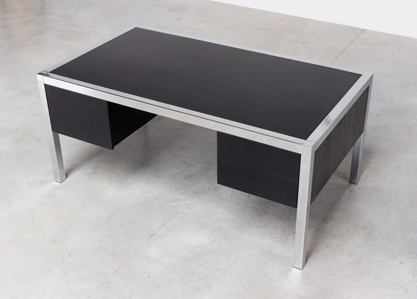 Monolith black chromed rectangular desk 1970 img 7