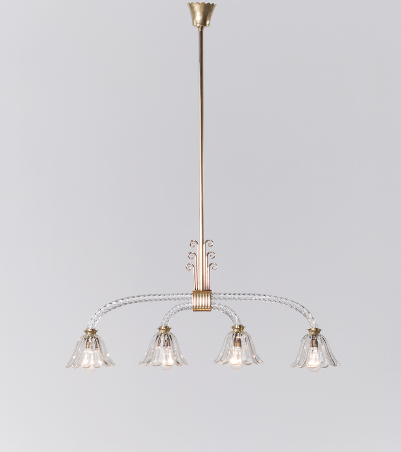 Murano glass chandelier by Archimede Seguso 1930