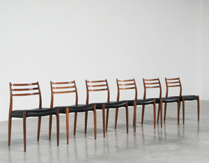 Niels O. Moller 6 rosewood dinning chairs J.L. Mollers Mobelfabrik