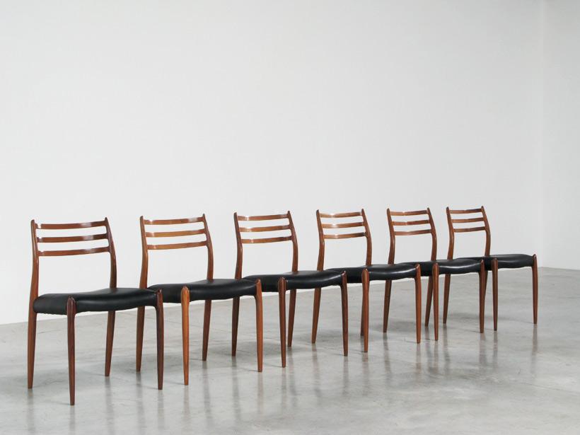 Niels O. Moller 6 rosewood dinning chairs J.L. Mollers Mobelfabrik