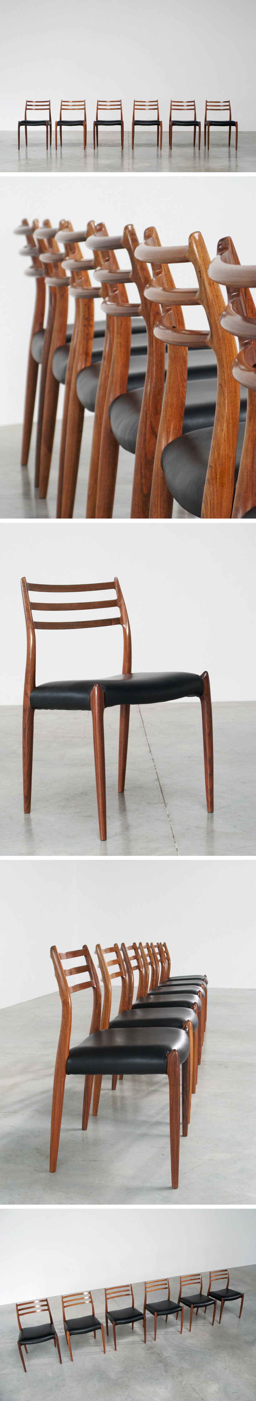 Niels O. Moller 6 rosewood dinning chairs J.L. Mollers Mobelfabrik Large