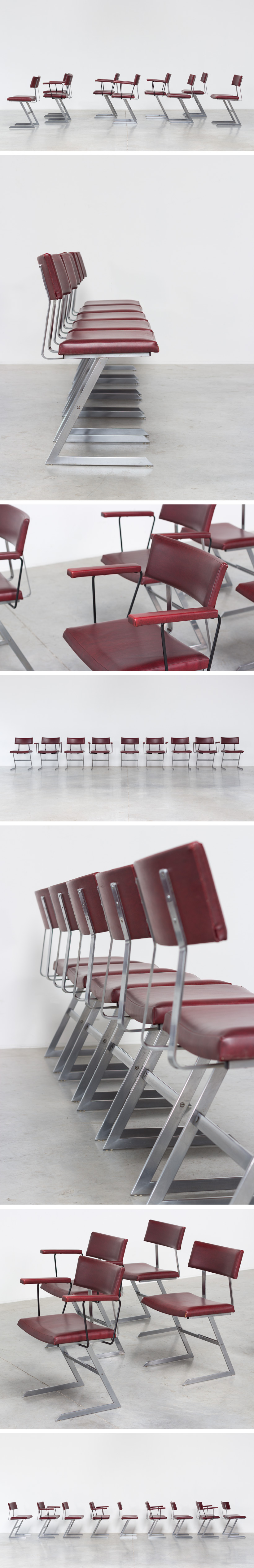 Nine zigzag sculptural dinning chairs 1970 Large