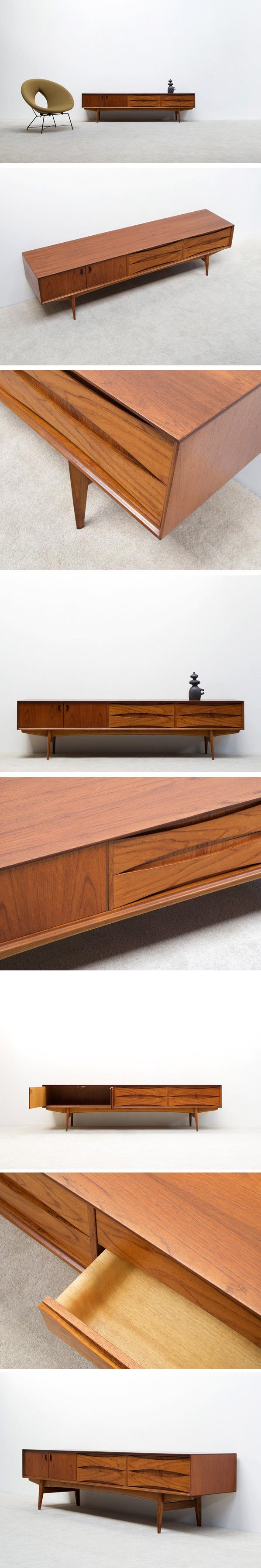 Oswald Vermaercke Ultra low V-form Teak Paola sideboard Large