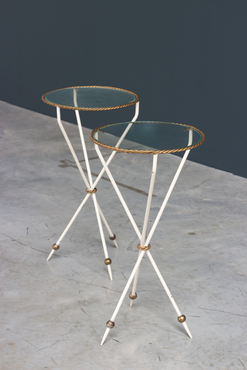 Pair French side tables Gueridon