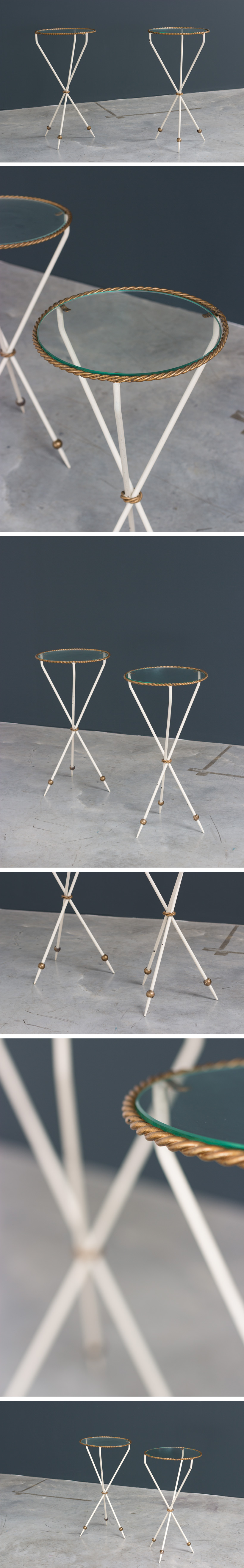 Pair French side tables Gueridon Large