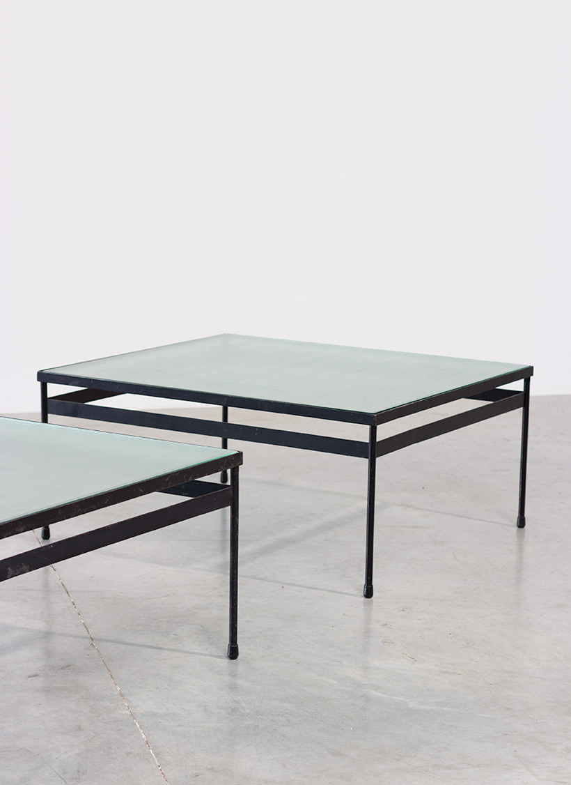 Pair iron and textured dalle de verre coffee tables circa 1950