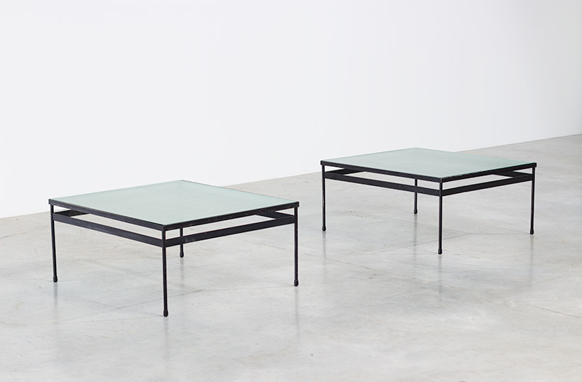 Pair iron and textured dalle de verre coffee tables circa 1950 img 3