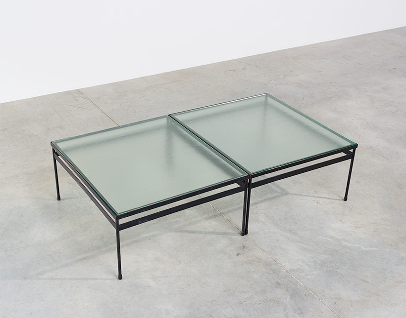 Pair iron and textured dalle de verre coffee tables circa 1950 img 5