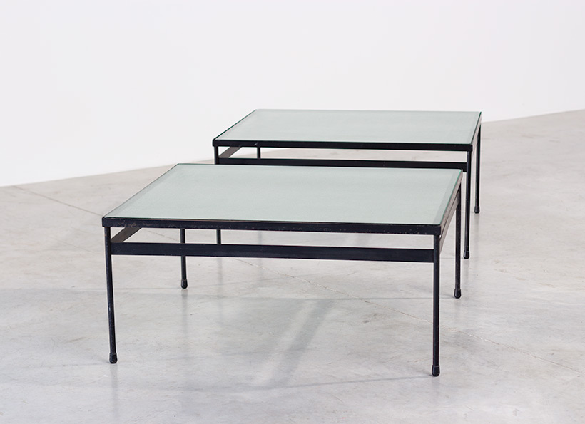 Pair iron and textured dalle de verre coffee tables circa 1950 img 7