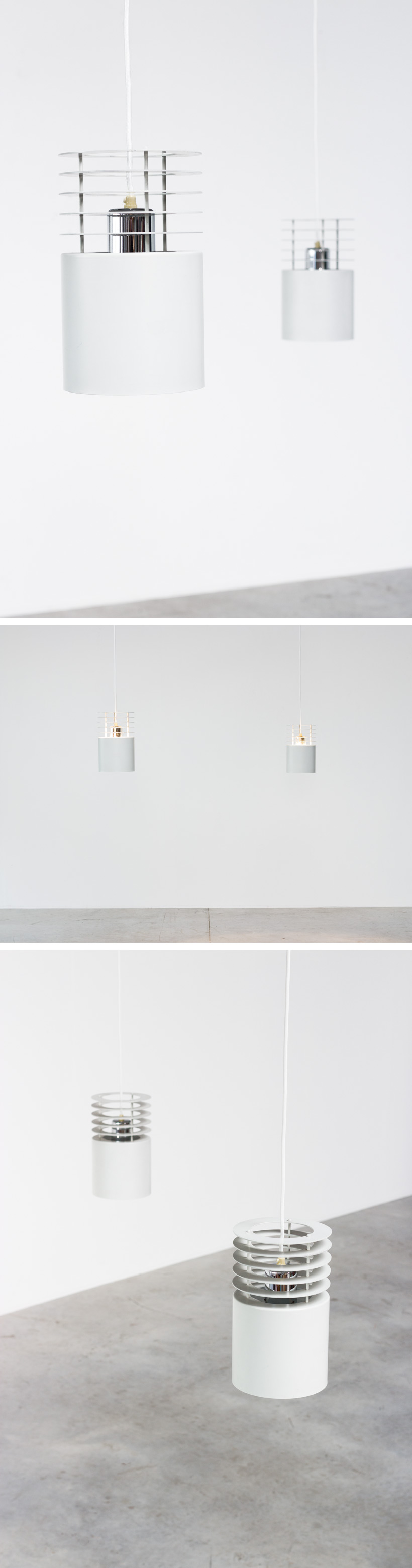 Pair Jo Hammerborg off white ceiling lamps Fog and Murop Large
