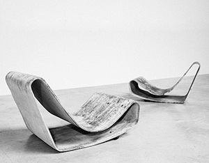 Pair Modern Concrete loop chairs by Willy Guhl Eternit AG 1954