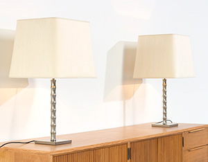 Pair modern eclectic faux bamboo table lamps