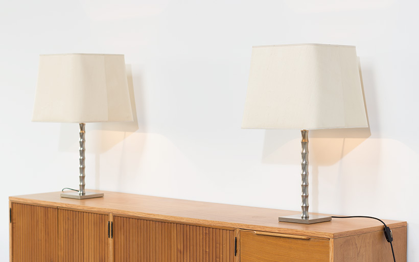 Pair modern eclectic faux bamboo table lamps img 3