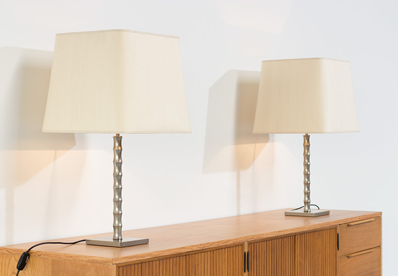 Pair modern eclectic faux bamboo table lamps img 5