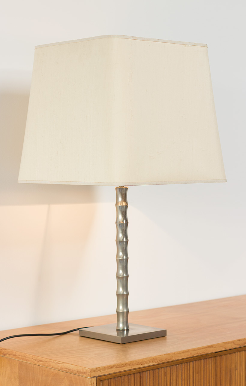 Pair modern eclectic faux bamboo table lamps img 6