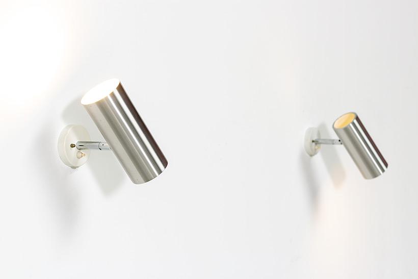 Pair modernist brushed metal cylinder sconces circa 1970 img 5