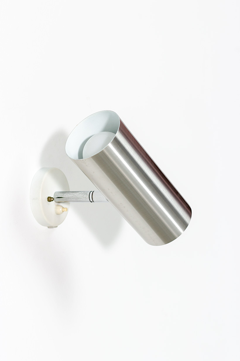 Pair modernist brushed metal cylinder sconces circa 1970 img 8