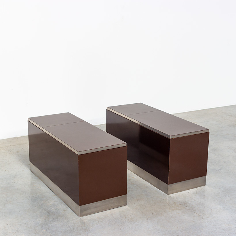Pair modernist storage boxes attributed to Willy Rizzo 1970 img 10