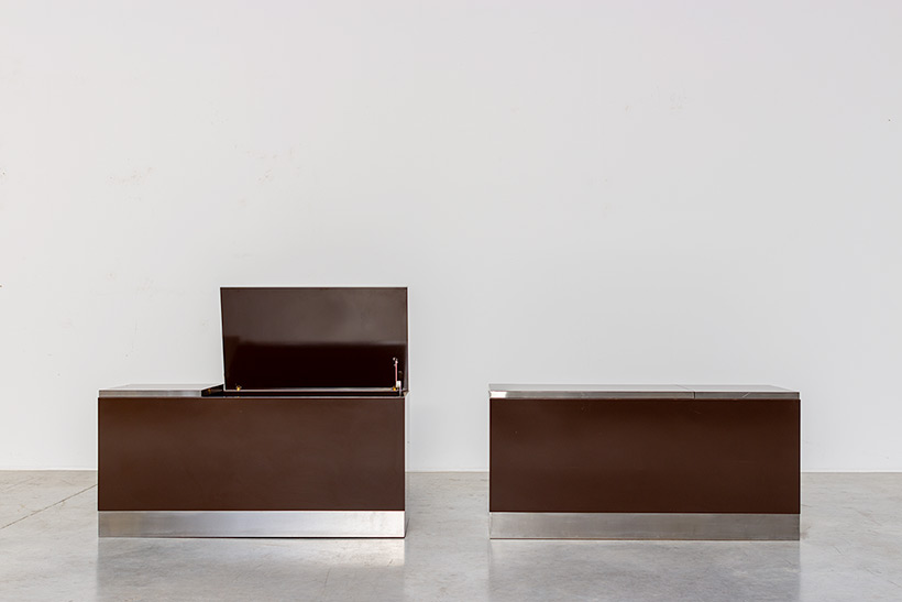Pair modernist storage boxes attributed to Willy Rizzo 1970 img 8