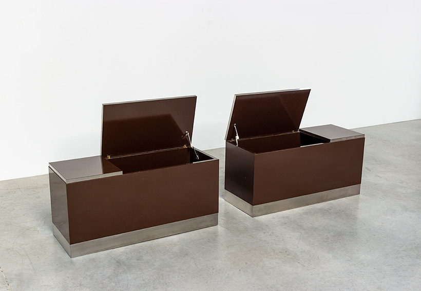 Pair modernist storage boxes attributed to Willy Rizzo 1970 img 9