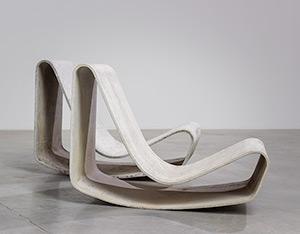 Pair modernist Willy Guhl lounge loop chairs Eternit AG 1954 Switzerland