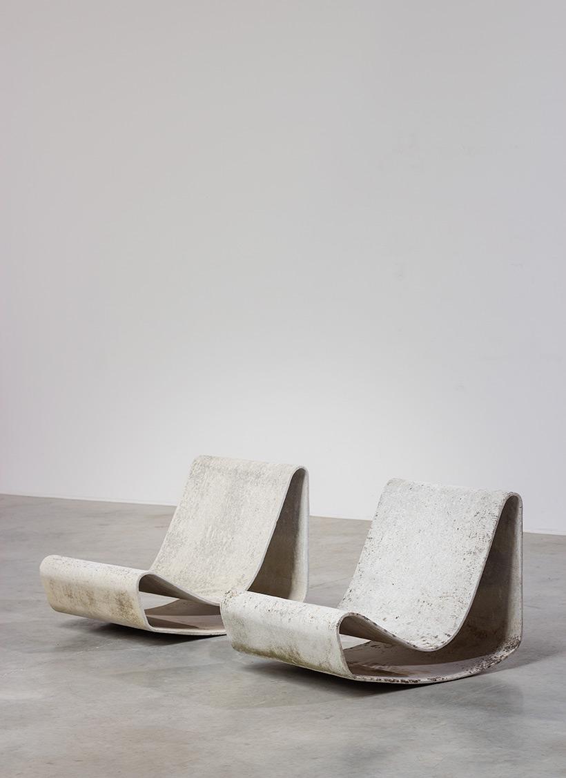 Pair modernist Willy Guhl lounge loop chairs Eternit AG 1954 Switzerland img 3