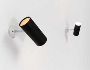 Pair of black adjustable cylinder sconces