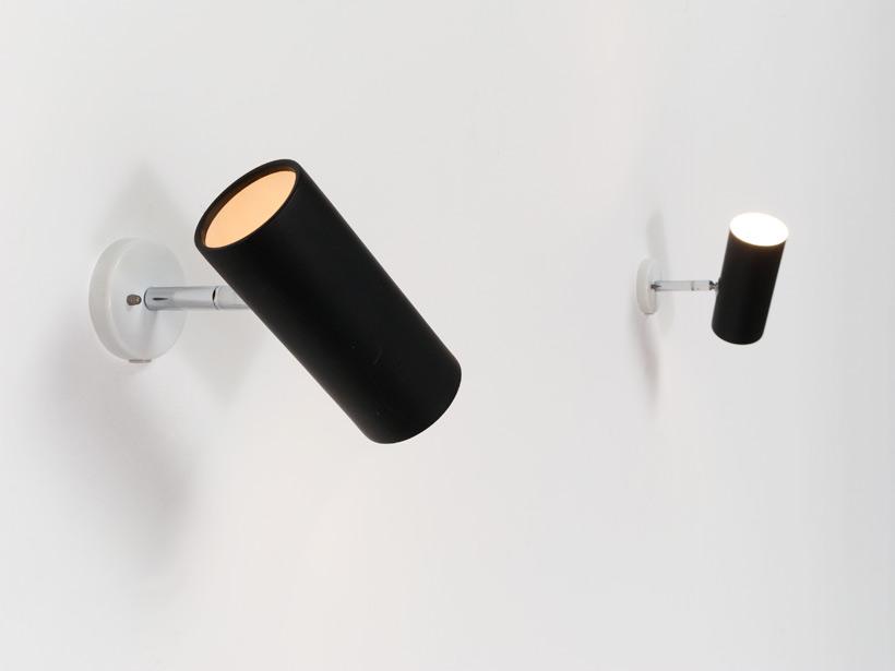 Pair of black adjustable cylinder sconces