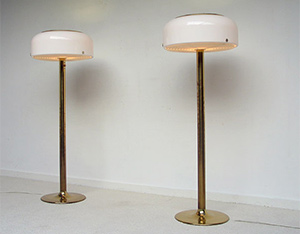 Pair of brass floor lamps Anders Pehrson Atelier Lyktan